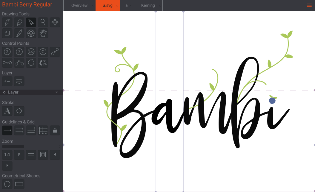Editing Bambi Berry in Birdfont. The font was made by Yandi Adi Prasetya.